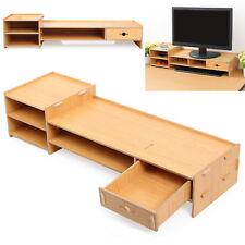 Office Desktop Wooden Monitor Stand Computer Laptop Screen Riser Holder Storage