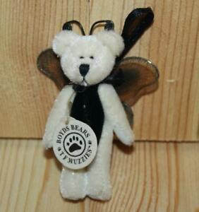 """Boyds Bears Wuzzies Bear-Butterfly """"Twiddle F. Wuzzie"""" 3 Inch Ornament Loop New"""