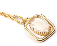 Gold Tone Necklace with Glass Cameo, Vintage 1960s