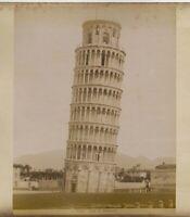 Pisa Campanile + Battistero . 2 foto originali all'albumina G. Brogi 1880c XL490