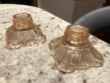 More details for vintage 30s art deco pressed glass vanity candlesticks candle holders pink peach