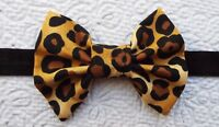 LEOPARD PRINT 3 INCH HAIR BOW ELASTIC HEADBAND BABY TODDLER GIRLS NEW
