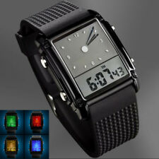 Casual Waterproof Men's Digital Analog LED Light Hands Rubber Alarm Wrist Watch