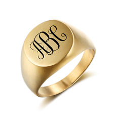 Size 12 Monogram Signet Ring Stainless Steel Personalised Fathers Day Gift
