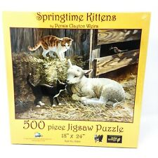 """Springtime Kittens Jigsaw Puzzle by Persis Clayton Weirs 500 Pc 18"""" x 23"""" - New"""