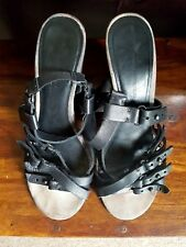 ALL SAINTS SPITAALFIELDS MORI STRAPPY GLADIATOR BLACK LEATHER SANDALS, SIZE UK 5