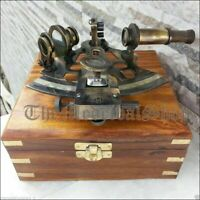 """5"""" Brass Antique Style German Astrolabe Nautical Marine Sextant With Wooden Box"""