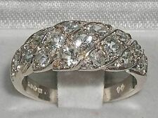 Luxury Ladies Solid Sterling Silver Natural Sparkling Aquamarine Band Ring