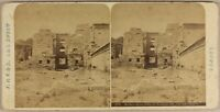 Egitto Medinet Habou Tempio c1865 Foto Stereo Vintage Albumina
