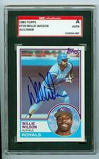 Willie Wilson Signed 1983 Topps Baseball Card #710 Royals Autograph SGC Slabbed