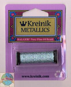 Kreinik Metallic Thread - 12Yd Spool of #3214 Blue Zircon VF #4 Braid