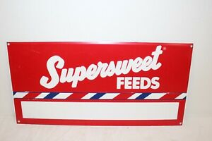 Vintage 1970's Supersweet Feeds Cow Pig Chicken Feed Farm Embossed Metal Sign