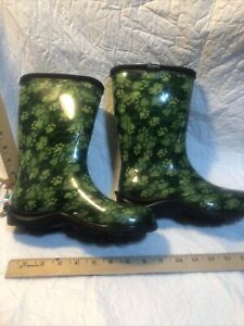 SLOGGERS Green Paw Print Rain and Garden Waterproof Boots - Size 6