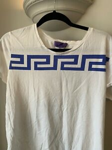 Mens Versace for H&M Greek Design Cropped Sleeve White T Shirt Size M