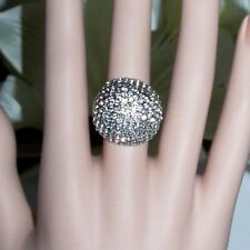 SIZE 9 LARGE STATEMENT RING PLATINUM PLATED CZ PAVE DOME RING - SUPER SPARKLY