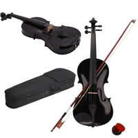 New High Quality 4/4 Full Size Acoustic Violin Fiddle + Case + Bow +Rosin Black