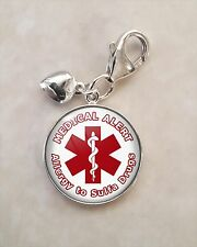 925 Sterling Silver Charm Medical Alert Allergy to Sulfa Drugs