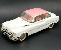 Vintage Pink & White 1950's Buick Sedan Tin Toy Friction Car Japanese