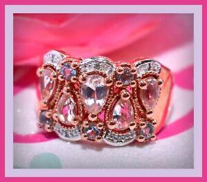 ❤️STS Sterling Silver Morganite Aquamarine Diamond Ring Sz 7 Chuck Clemency❤️