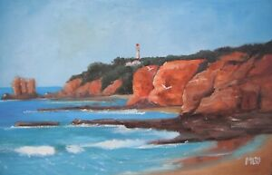 Aireys Inlet Lighthouse - small oil painting impressionist style. Framed.