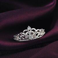 des bijoux crystal mariage les femmes argenté bague princesse couronne