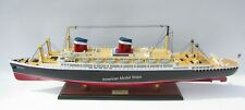 """SS America Ocean Liner Handcrafted Wooden Model 35"""" Museum Quality Scale 1/250"""
