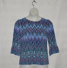 Bob Mackie Peacock Feather Printed Knit Top with Ruffle Sleeves Size S Blue