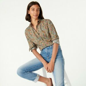 J.Crew Liberty Floral Colorful Little Marquess Perfect Shirt Blouse Size 10
