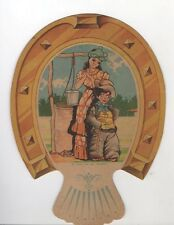 VINTAGE HAND FAN COLORFUL ADVERTISING YOUNG LADY LITTLE BOY