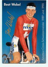 Beat WABEL. Coureur cycliste, cyclisme. Champion Suisse 1989