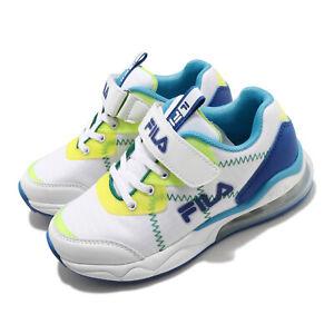 Fila J402V White Blue Yellow Green Kid Preschool Running Casual Shoes Sneakers