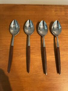 Vintage Pyramid Stainless Steel Spoons With Wood Handles - Japan Lot of 4