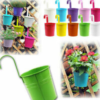 1/10X Hanging Flower Pot Box Balcony Garden Plant Metal Iron Planter Fence Decor