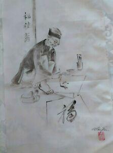 Two original drawings Vietnamese men characters. Unframed Silk Fabric Signed