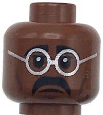 Lego New Reddish Brown Minifigure Head Dual Sided Glasses Silver Frames Black