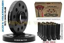 Pair Of 20mm Audi Volkswagen 5x100 5x112 Wheel Spacers + Conical Bolts 14x1.5