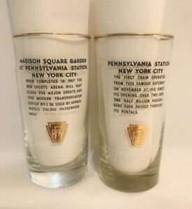 2 Vintage PRR Railroad Drink Glasses Madison Square & Pennsylvania Station NYC