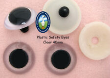 4 PAIR CLEAR Safety Eyes 40mm & 45mm Teddy Bears, Puppets, Monsters, Dolls, PE-1