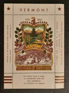 1941 Vermont Statehood Anniversary LW Staehle Multicolor Mint Label Cachet