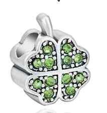 Lucky Irish Clover Green Shamrock Silver Charm Bead EuroStyle Pandora Size