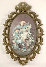 Antique Italian Ornate Oval Frame with Floral Artwork - Metal Frame