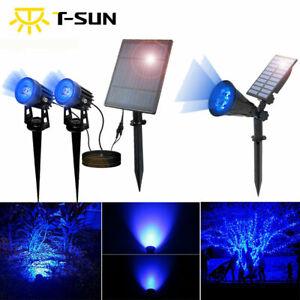 T-SUN LED Solar Spot Lights Waterproof Outdoor Security Garden BLUE Spotlight
