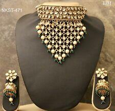 HQ Indian Pakistani Jewelry Jadau Kundan Green Choker Kanthi Earring Necklace