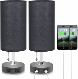 Dual USB Table Lamp with 2 USB Charging Ports, Seealle Bedside USB Desk Lamp