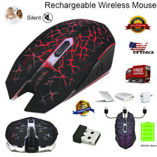 W200 Wireless Silent Rechargeable Led Backlit Optical Gaming Mouse Black Usa