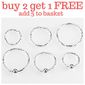 Sterling Silver Nose Ring Hoop Thin Tragus Helix Ear Lip Septum Piercing Twisted