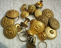 21  X  2 CM & 1 CM SMALL S/H GOLD AUSTRALIAN MILITARY BUTTONS NAVY