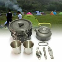 12Pcs Camping cookware Outdoor Hiking Picnic Teapot Pot Set cooking set travel t