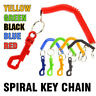 Colorful Retractable Coil Lanyard Telephone Cord Spring Key Chain Ring Safe