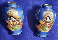 """vintage lpair of satsuma moriage vases samurai 5"""""""